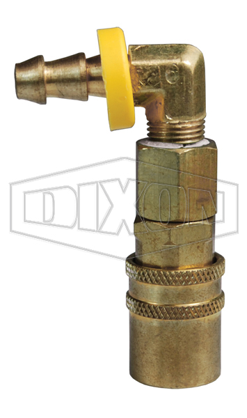 DQC CM-Series Industrial Mold Interchange Valved Coupler 90° Push-Loc Barb