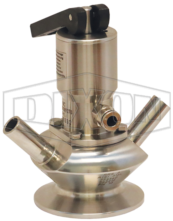 BSV Series Dixon/Rieger 3A Sample Valve, Dual Port with Pneumatic Actuator with Open Lever