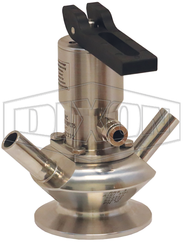 BSV Series Dixon/Rieger 3A Sample Valve, Dual Port with Pneumatic Actuator with Self Closing Lever