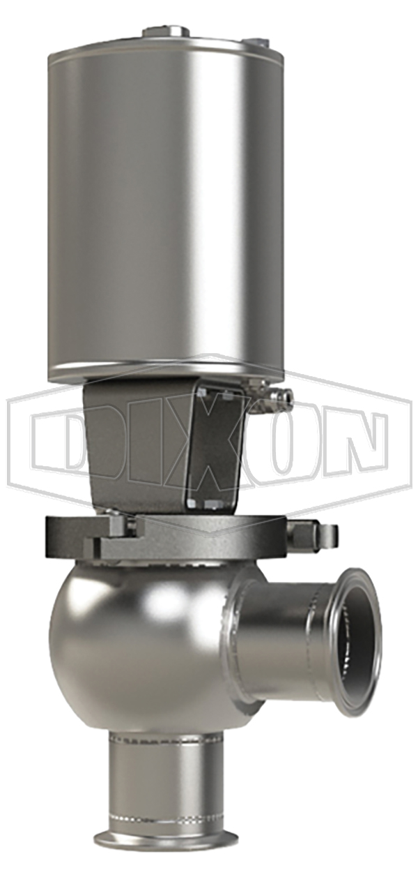 SSV Series Single Seat Valve, Shut-Off L Body, Clamp, Spring Return Actuator (Air-To-Raise)