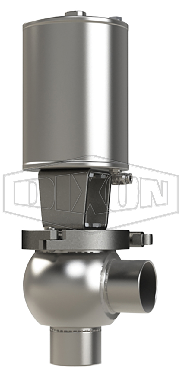 SSV Series Single Seat Valve, Shut-Off L Body, Weld, Spring Return Actuator (Air-To-Lower)