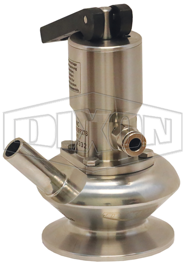 BSV Series Dixon/Rieger 3A Sample Valve, Single Port with Pneumatic Actuator with Open Lever